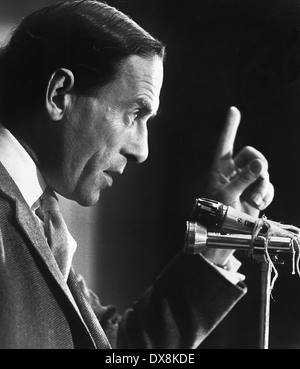 Jeremy Thorpe giving a speech in Newbury during the campaign for the 1974 General Election. - Stock Image