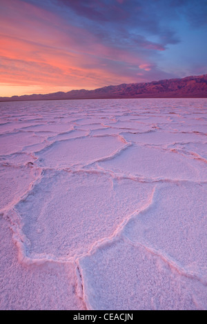 Sunrise over salt polygons and patterns at Badwater Salt Flats in Death Valley National Park, California, USA - Stock Image