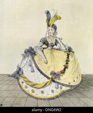 Lady in a ball gown at the English court, 1800. - Stock Image