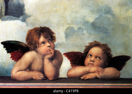 fine arts, Raphael, Santi: 'The Angels of the Sistine Madonna', detail from the painting 'Sistine Madonna', - Stock Image