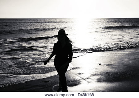 Silhouette of woman - Stock Image