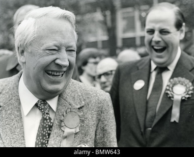 EDWARD HEATH - UK Conservative politician at left in campaigning in 1974 - Stock Image