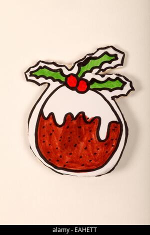 cartoon illustration of a Christmas cake pudding - Stock Image