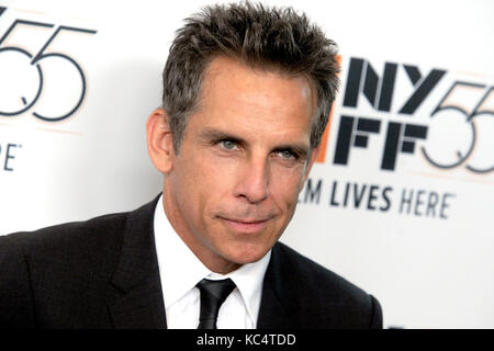 Ben Stiller attends 'The Meyerowitz Stories' premiere during the 55th New York Film Festival at Alice Tully - Stock Image