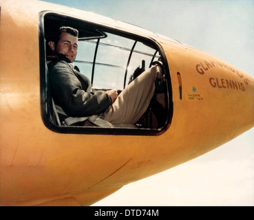 US Air Force test pilot Captain Chuck Yeager sitting in the cockpit of Glamorous Glennis the Bell X-1 aircraft that broke the sound barrier September 26, 1947 in Palmdale, California. - Stock Image