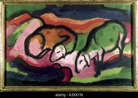 'fine arts, Marc, Franz, (1880 - 1916), painting, 'Schafe', 'sheep', 1912, oil on canvas, 49,5 - Stock Image