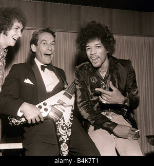 Jeremy Thorpe with Jimi Hendrix after concert by The Jimi Hendrix Experience at Royal Festival Hall guitar tuxcedo - Stock Image