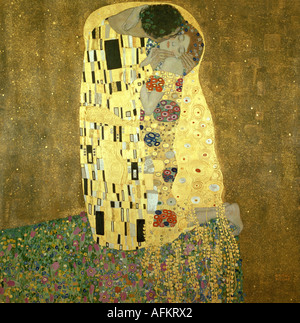 'fine arts, Klimt, Gustav, (1862 - 1918), painting, 'Der Kuss', ('the kiss'), 1907 - 1908, oil, silver and gold on canvas, 1 - Stock Image