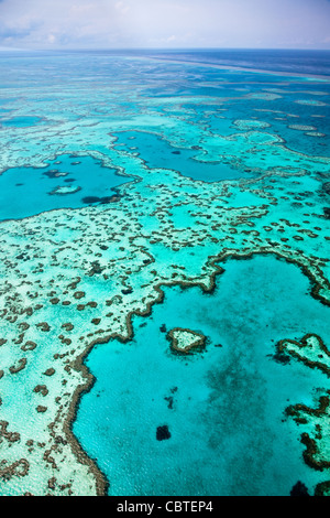 Aerial views of beautiful Heart Reef in the spectacular Great Barrier Reef near the Whitsunday Islands in Queensland, - Stock Image