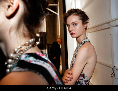 New York, NY, USA. 10th Sep, 2013. Models backstage at MBFW in New York City. Credit:  Scott Houston/Alamy Live News - Stock Image