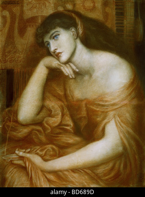 fine arts, Rossetti, Dante Gabriel (1828 - 1882), painting, 'Penelope', oil on canvas, 1869, symbolism, - Stock Image
