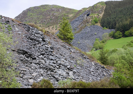 Welsh slate mining Aberllefenni slate quarries Machynlleth Powys Wales UK - Stock Image
