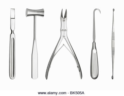 Surgical tools in a row - Stock Image