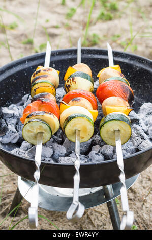 Vegan shish kebab on skewer. Fresh vegetables prepared on a grill charcoal, outdoors. - Stock Image
