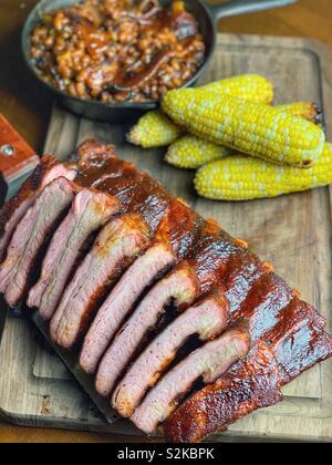 St louis style pork ribs - Stock Image
