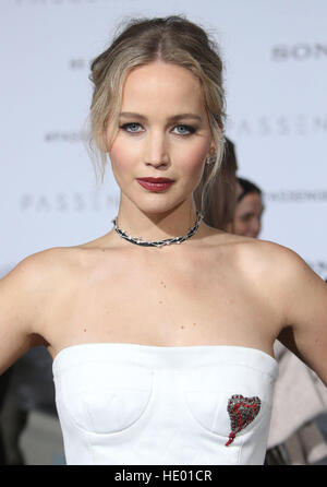 Westwood, CA, USA. 14th Dec, 2016. 14 December 2016 - Westwood, California - Jennifer Lawrence. ''Passengers'' - Stock Image