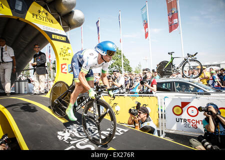 Utrecht, The Netherlands. 4th of July, 2015. Tour de France Time Trial Stage, SIMON GERRANS, Team Orica Green EDGE - Stock Image