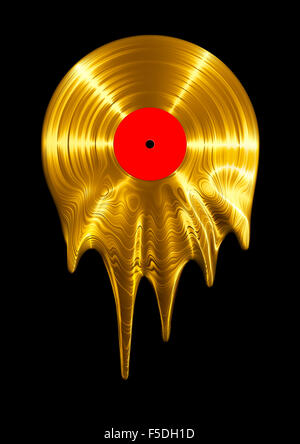 Melting gold vinyl record / 3D render of vinyl record melting - Stock Image