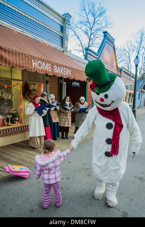 Frosty the Snowman with child, Burnaby Village Museum, Burnaby, British Columbia, Canada - Stock Image