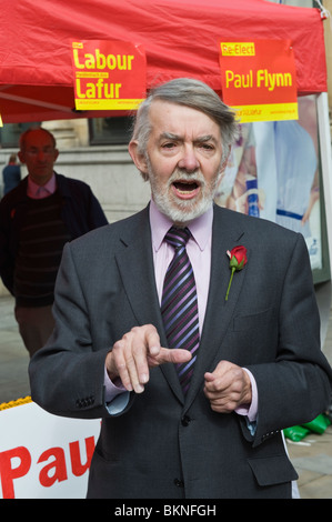 Paul Flynn Labour Party candidate campaigning in city centre for re-election in Newport West constituency South - Stock Image