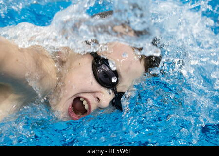 Omsk, Russia. 16th Dec, 2016. A participant in a swimming competition at the Omsk Cadet Corps. © Dmitry Feoktistov/TASS/Alamy - Stock Image