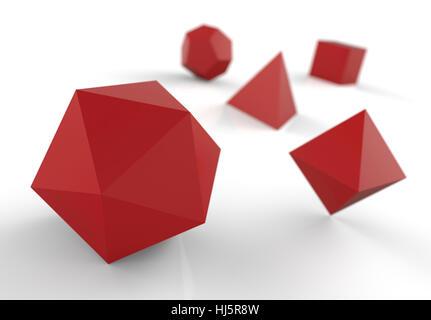 solide platonique en 3d - rouge précieux - image du fichier