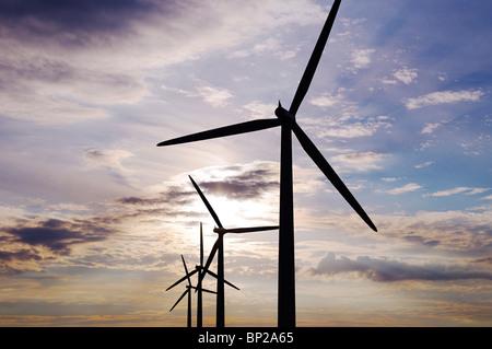 Wind Turbines, Watchfield, United Kingdom. - Stock Image