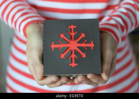 Woman holding christmas gift - Stock Image