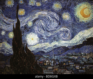 fine arts, Gogh, Vincent van, (1853 - 1890), painting, 'The Starry Night', oil on canvas, 73 x 92 cm, 1889, - Stock Image