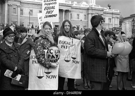 Womens Rights. Trade Union Demonstration for Equal Pay for Women. USDAW Rally Trafalgar Square London England 1968. - Stock Image