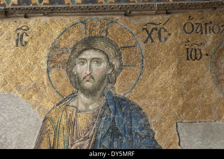Byzantine mosaic of Jesus in the Hagia Sophia, Istanbul. Digital photograph - Stock Image