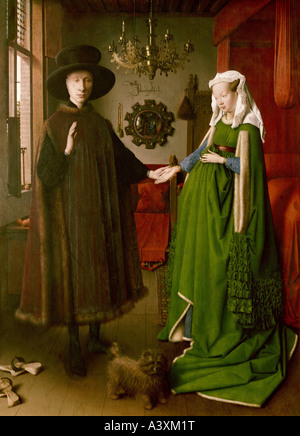 'fine arts, Eyck, Jan van, (circa 1390 - 1441), painting, 'the Arnolfini wedding', 1434, oil on panel, - Stock Image