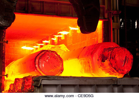 Molten forged steel in furnace - Stock Image