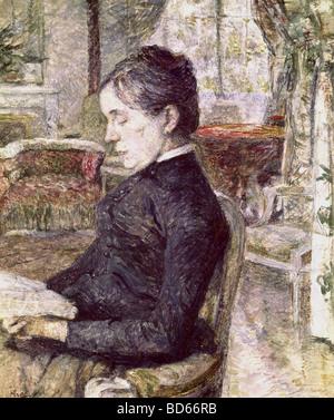 fine arts, Toulouse-Lautrec, Henri de (1864 - 1901), painting, portrait of his mother in the parlour of Castle Malrome, - Stock Image