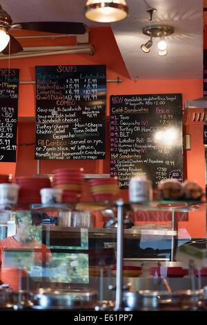 Small sandwich shop interior, USA - Stock Image