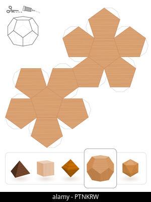 Solides platoniques. Modèle d'un dodécaèdre à trois textures pour créer un modèle en papier 3d à partir de la grille du triangle. - image d'archive