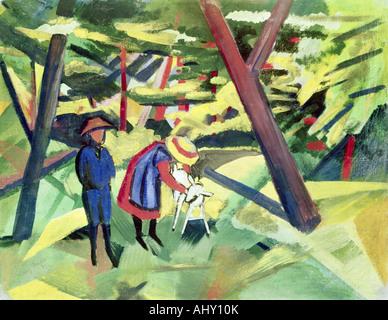 'fine arts, Macke, August, (1887 - 1914), painting, 'Kinder mit Ziege im Wald', ('children with - Stock Image