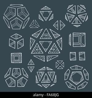 tétraèdre de solides platoniques monochromes monochromes, cube, hexaèdre, octaèdre, dodécaèdre, - vector image