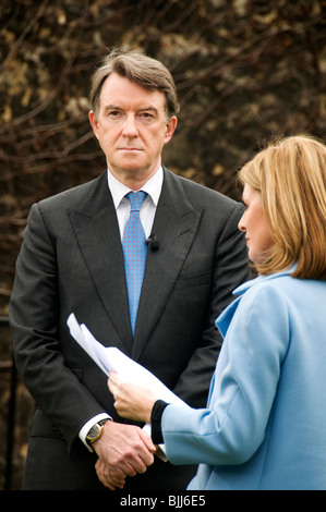 Budget Day March 24th 2010. Press interviews on College Green. Lord Peter Mandelson being interviewed . - Stock Image
