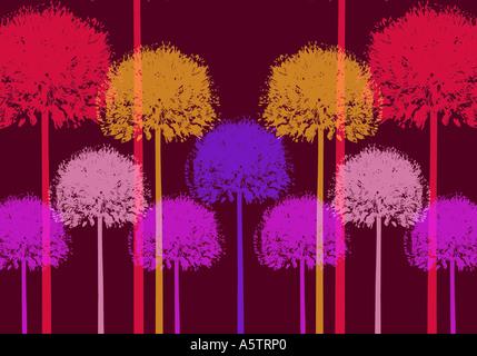 Graphic pattern - Allium illustration - Stock Image