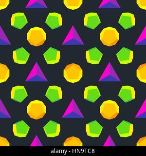 vecteur de solides de platonique différentes couleurs violet vert orange jaune violet modèle isolé fond noir - Image Image  t