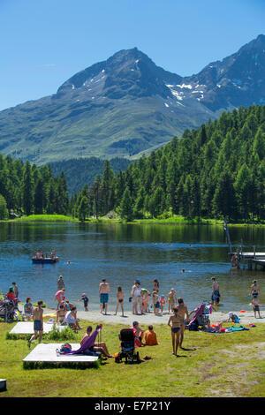 Engadin, Engadine, Baden, Statzersee, lake, Saint Moritz, St. Moritz, mountain lake, canton, GR, Graubünden, - Stock Image