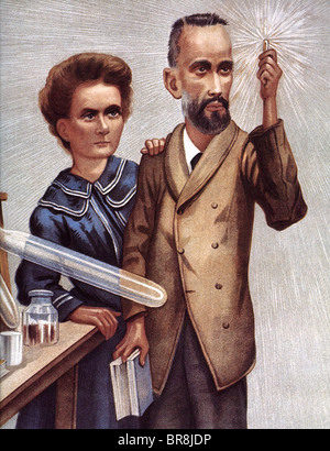 MARIE CURIE  French physicist and husband Pierre in a 1904 illustration which incorrectly shows x-rays as rather - Stock Image