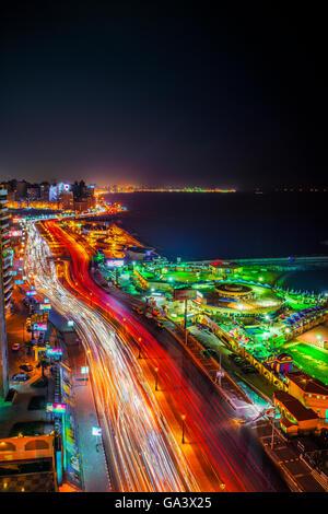 Long Exposure Night Shot of City of Alexandria, Egypt - Stock Image