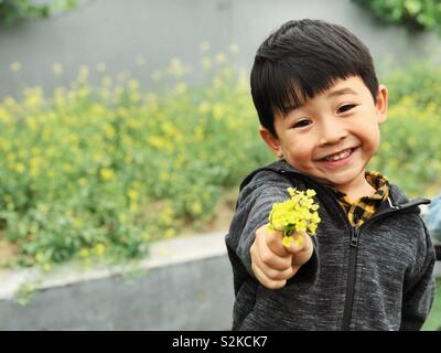 Little boy and flowers - Stock Image