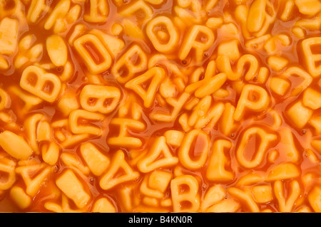 a background of alphabet spaghetti - Stock Image