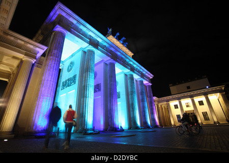 Berlin, Germany, the Brandenburg Gate during the Festival of Lights 2009 - Stock Image