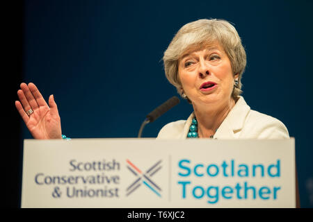 Aberdeen, UK. 3rd May, 2019. Prime Minister, Theresa May delivers her keynote speech address to conference. Credit: Colin Fisher/Alamy Live News - Stock Image