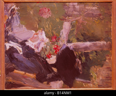 fine arts, Manet, Edouard, (1832 -1883), painting, 'La mere de Manet dans le jardin de Bellevue', ('Manet - Stock Image