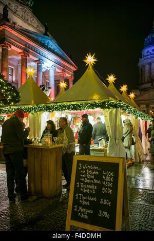 Germany, Berlin, Gendarmenmarkt, Christmas market, outdoor food shop - Stock Image